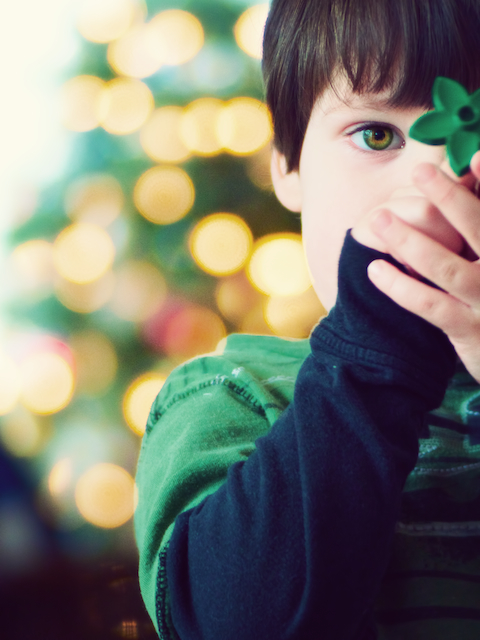 christmas bokeh boy