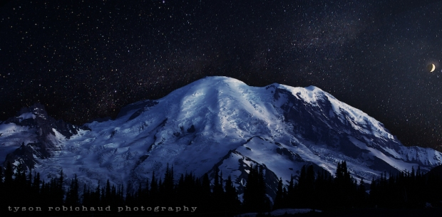 Moon, stars and Rainier