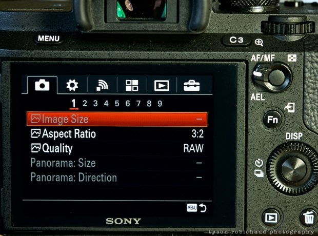 Sony a7II menu and user interface