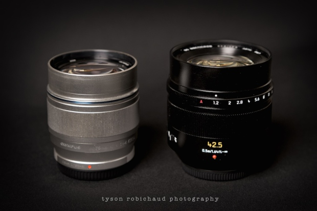 Olympus 75 and Leica 42.5 Nocticron